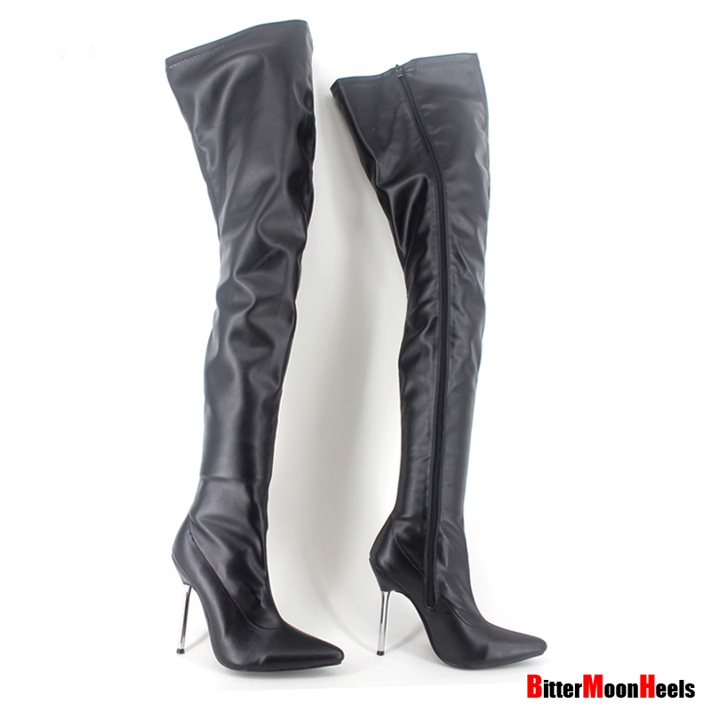 ФОТО Woman's Spring Autumn Lace Up Thigh High Boots Sexy Heel Patent Leather Over Knee Pointed Toe Customize Design