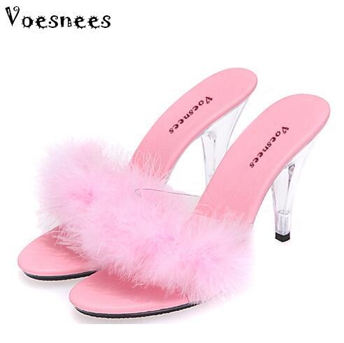Shoe Woman Slides Slippers 2019 Transparent Crystal  Heels 10cm Weddings Shoe  Sexy Big Yards Interest Maomao Slipper