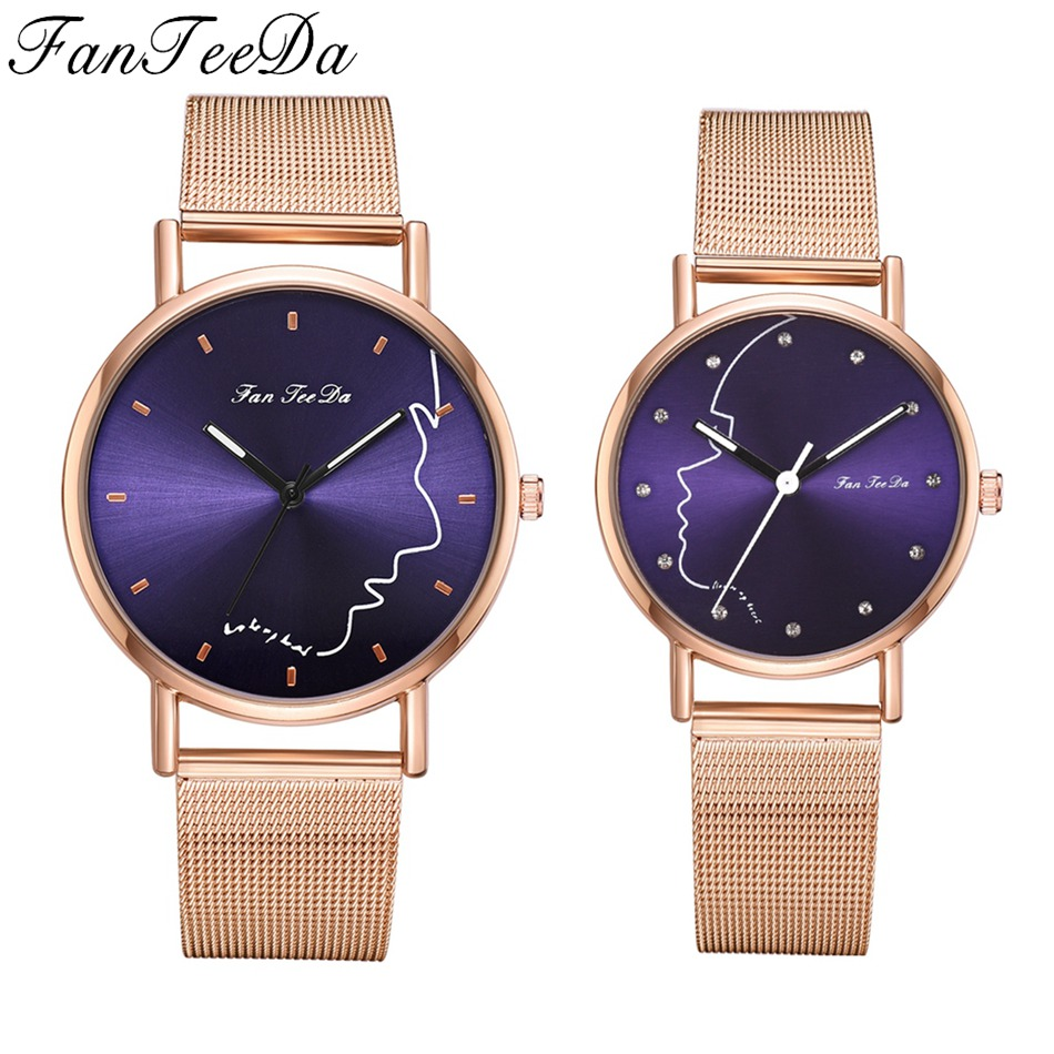 Top Brand Couple Watches Rose Gold Black Minimalism Lover's Wristwatch Women Men Waterproof Fashion Casual Quartz Clock