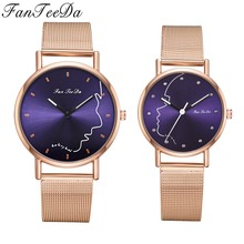 Top Brand Couple Watches Rose Gold Black Minimalism Lover's