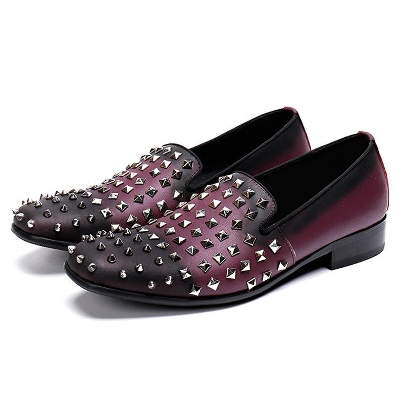 Casuales Cómodos Vintage Redonda Hecho A Púrpura Hombres Punta Cuero Hombre On Zapatos Rocker De Genuino Mano Mocasines Los Slip Sl490 AACrT6qw