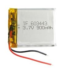 3.7V 900mAh battery 603443 Lithium Polymer Li-Po ion PLIB Rechargeable Battery For Mp3 MP4 MP5 GPS PSP mobile electronic part