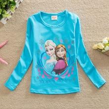 2016 3-7Y Kids Girls T-shirt Summer Cartoon Elsa And Anna Baby Gilr Clothes T shirt Short Sleeve For Children Girl Tops