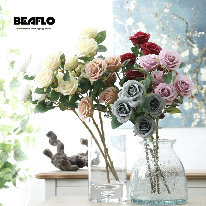 Us 2 39 20 Off 5 Heads Bunch French Artificial Rose Flower Bouquet Fake Silk Floral Arrange Table Wedding Decoration Party Accessory Flores In