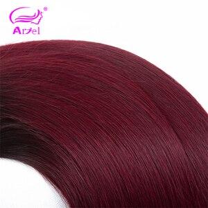 Image 5 - アリエルオンブル髪織り 3 バンドルと閉鎖 1B/99Jブルゴーニュワイン赤オンブルインドnonremyストレート人間の髪のバンドル