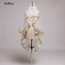 Luxury Wedding Veils 1.5M Mantilla Lace Gold Applique Accessories One Layer Waltz Length Tulle Bridal Veil Real Image