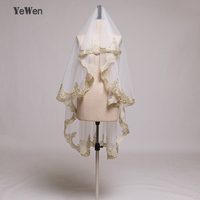 Luxury Wedding Veils 1.5M Mantilla Lace Gold Applique Wedding Accessories One Layer Waltz Length Tulle Bridal Veil Real Image