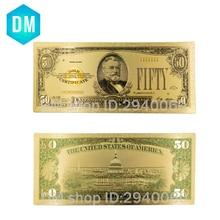 1928 Year Colorful Gold Banknote Usd 50 24k Gold Foil Paper Money Unique Souvenir Gifts Original Size Bill Note 10 Pcs