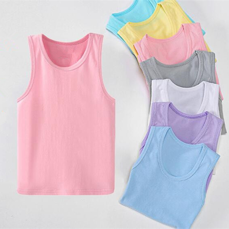 Child Kids Girls Sleeveless Candy Solid Color Vest Sling Undershirt Tops Clothes