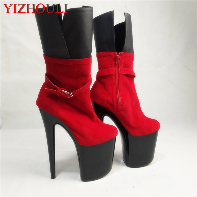 classics round toe platform boots sexy 20cm ultra high thin heels boots plus size women boots 8 inch ankle boots ultra thin heels 20cm platform open toe print women s shoes plus size sexy 43 tiangao 42 34