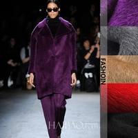 Alpaca Long Hair Carded Wool Fabric Coat Woolen Fabric 400g M