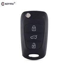 KEYYOU-carcasa de llave abatible para Kia K2, K5, Sorento, Sportage, 3 botones, plegable, mando a distancia de coche, cubierta en blanco, cuchilla sin cortar, novedad