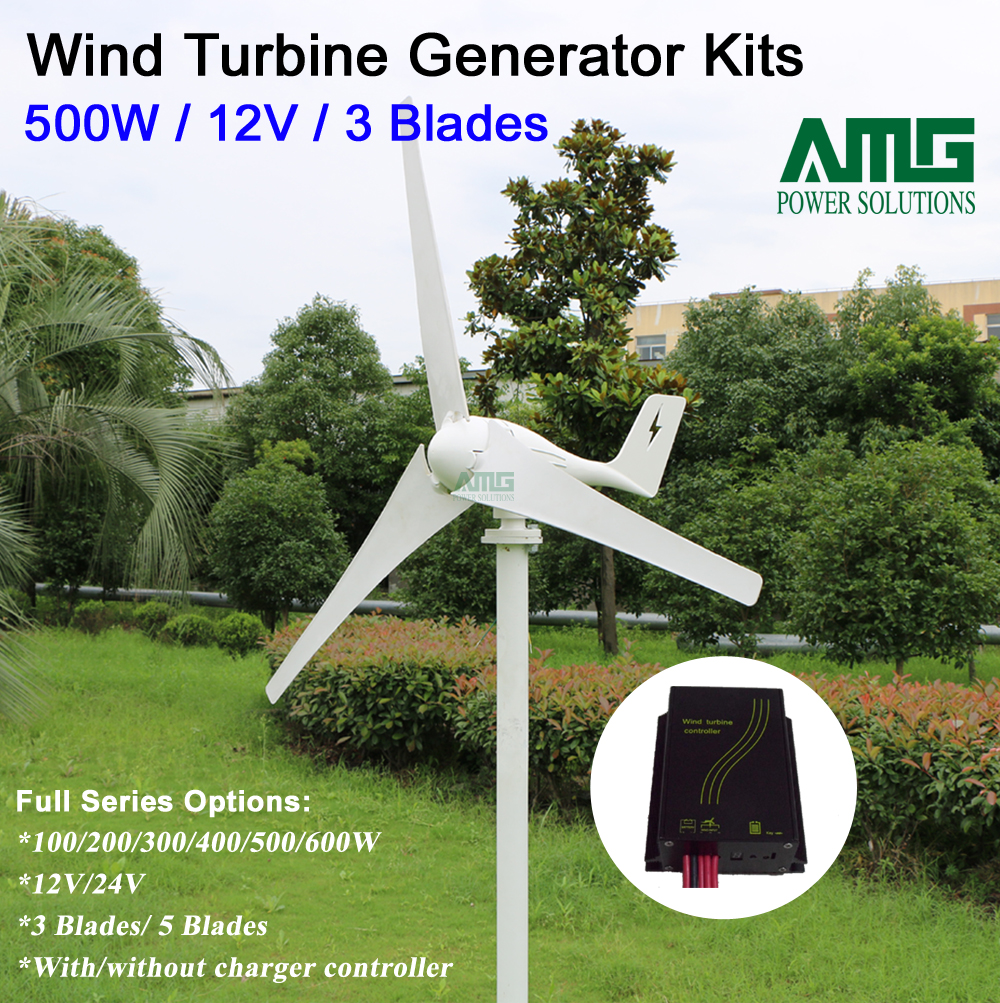 500W 12V 3 blades low wind start up horizontal boat windmill turbine generator + waterproof intelligent wind charger controller