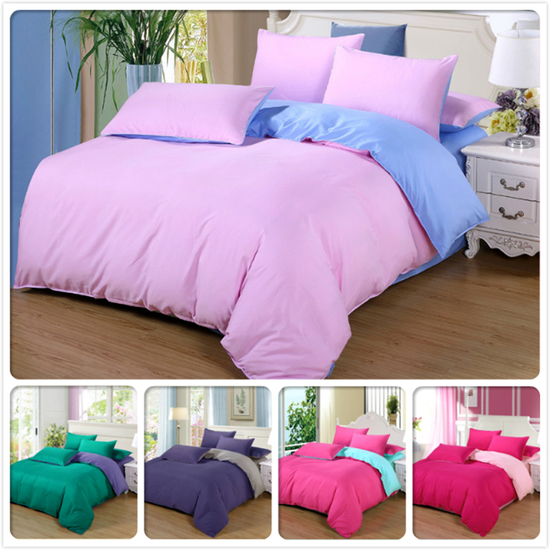 Home Textile 3pcs 4pcs Bedding Set Solid Bedlinens King Queen Double Single Size Duvet Cover Girl Child 1.5m 1.8m 2.0m Bed Sheet