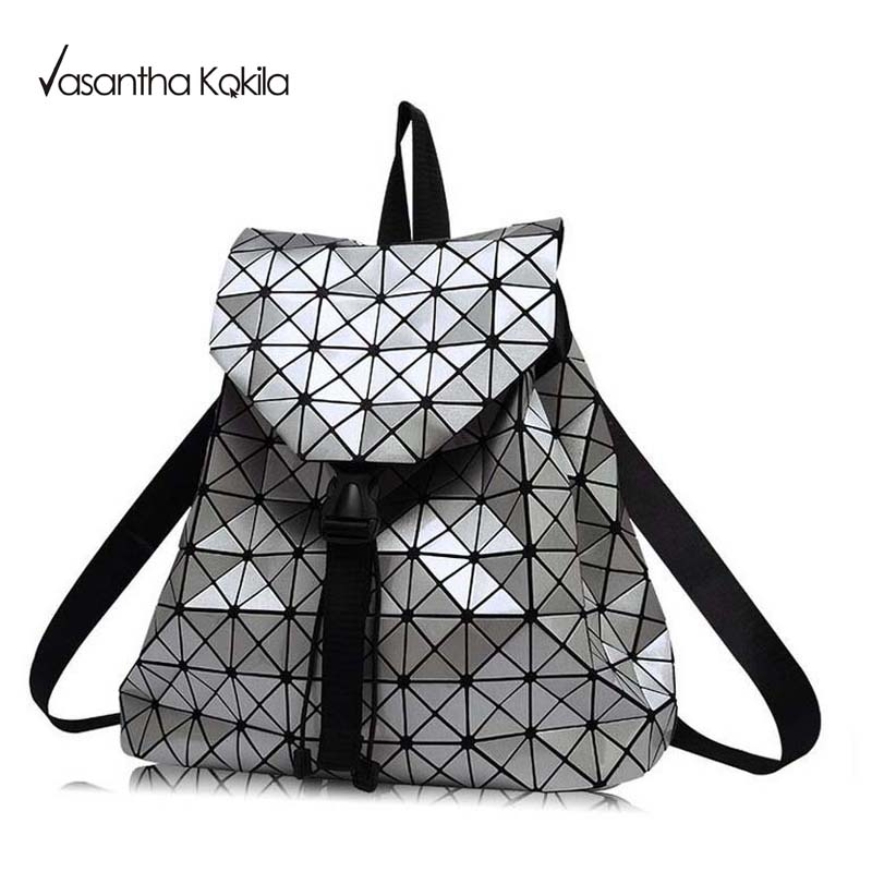 2017 New BaoBao Luminous Backpacks Female Fashion Girl Daily Backpack Geometry Package Sequins Folding Bags Bao