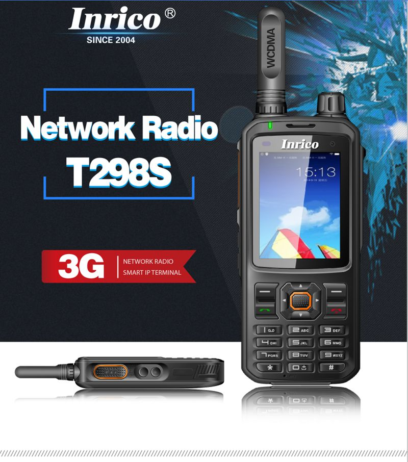 Original Inrico T298S SIM 3G WCDMA Walkie Talkie Mobile Phone 4000mAh battery with touch Screen public network radio Android   mobile phone
