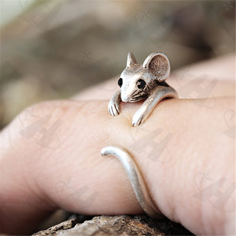 Mouse Rings Women's Girl's Retro Burnished Rat Animal Rings Vintage Jewelry Adjustable Free Size Ring Black Crystal Gift Idea image