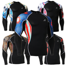 Fashion Men Double Half Sleeve 3D Printing Compression Tights Long Sleeves Breathable Quick Dry Men's  T-shirt