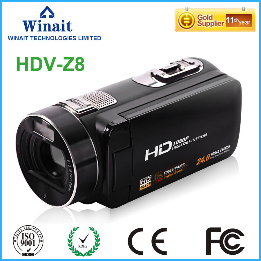 Winait 16x digital zoom HDV-Z8 digital video camera with 5.1M pixel  CMOS sensor Face Detection winait electronic image stabilization hdv z8 digital video camera with recording function touch screen