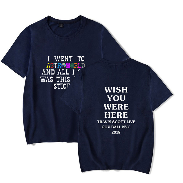 2018 New Fashion Hip Hop T Shirt Men Women Travis Scotts ASTROWORLD Harajuku T-Shirts WISH YOU WERE HERE Letter Print Tees Tops