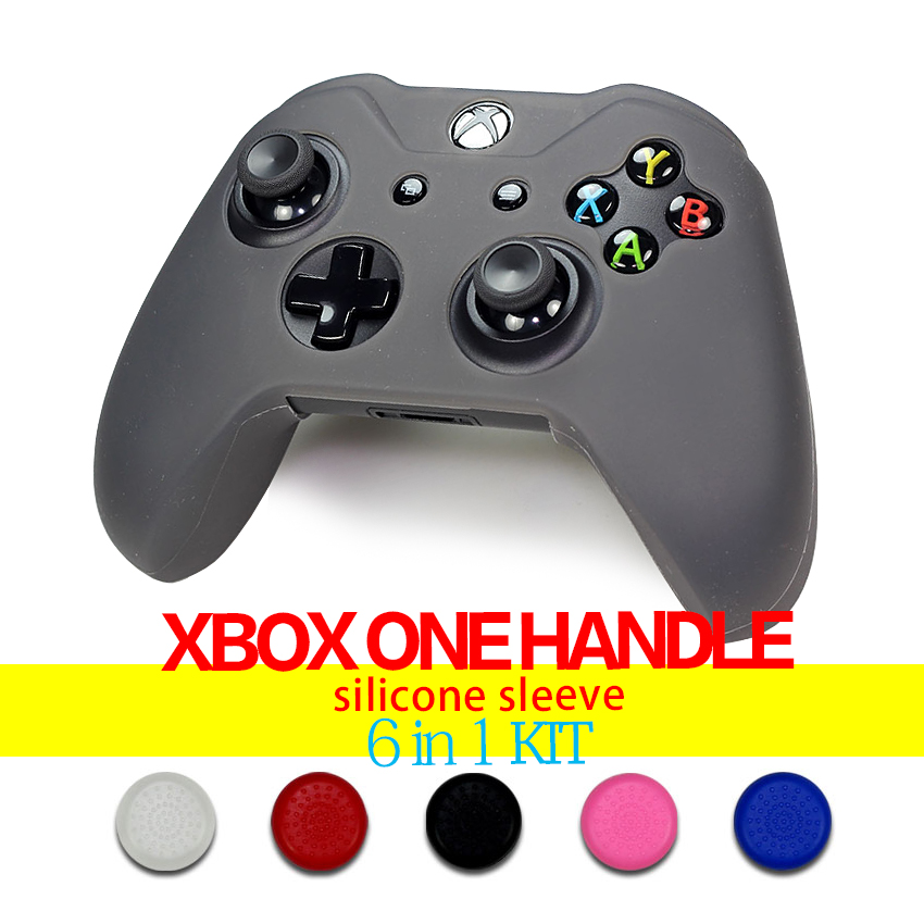 Game accessories rubber silicone cover case for Xb one  Gamepad Controller + 5 pcs of Xb one controller`s analog stick TPU cover