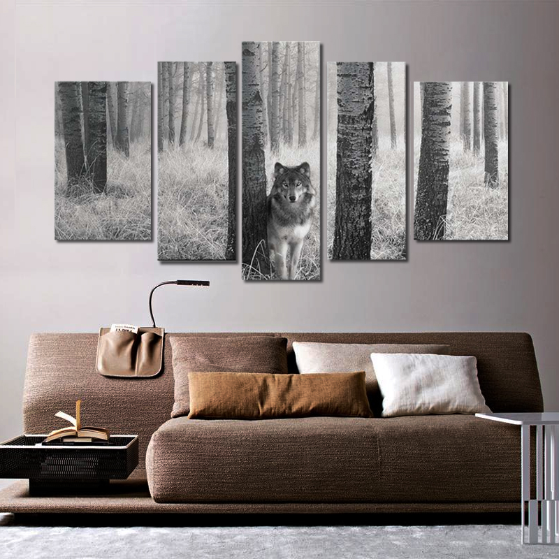 Canvas Painting Wall poster 5 Panel In The Wild Prints On Watchful Wolf Eyes The Picture Animal Pictures Oil For Decor no frame