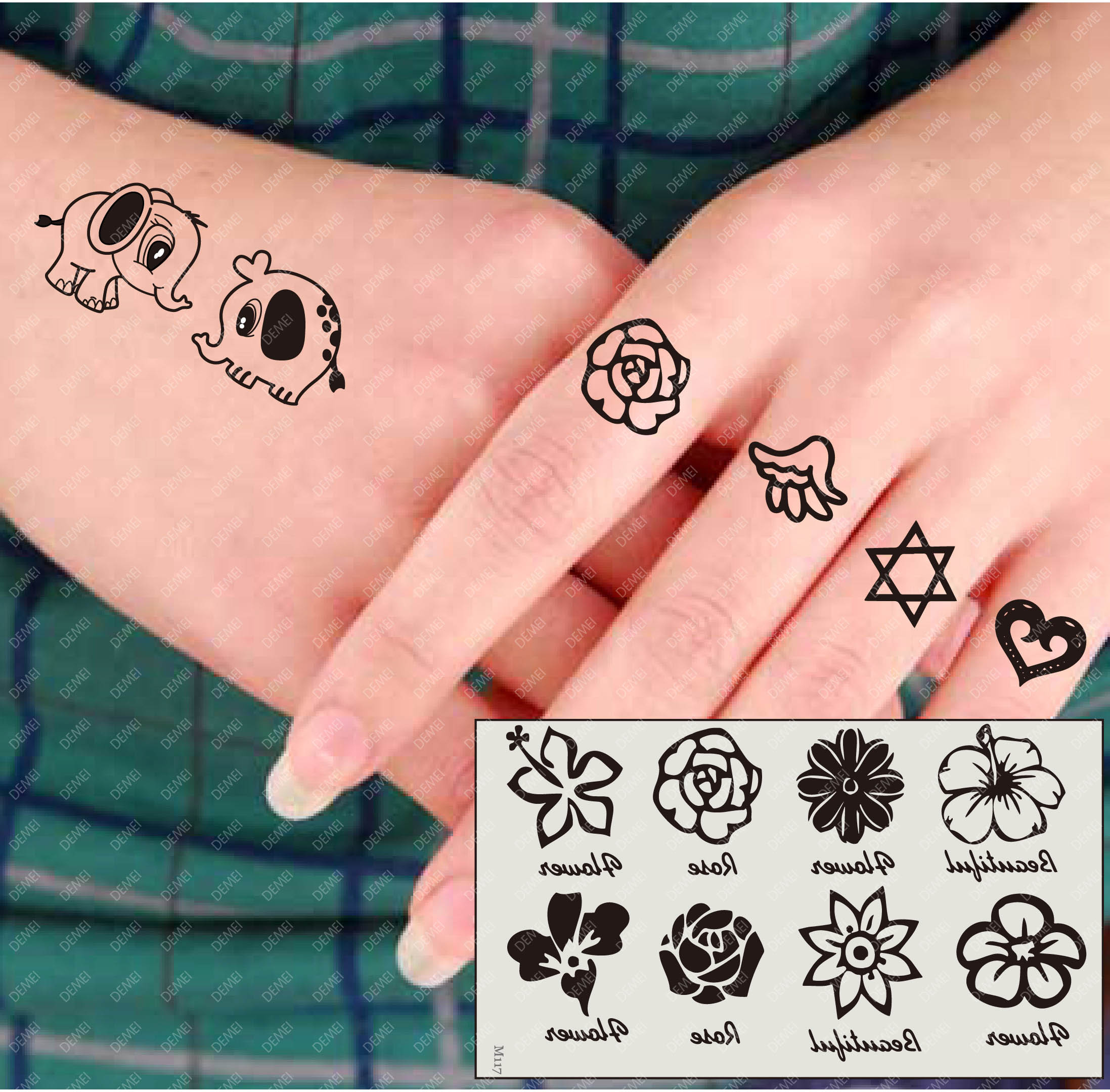 tattoo stickers waterproof female flowers small hand. Black Bedroom Furniture Sets. Home Design Ideas