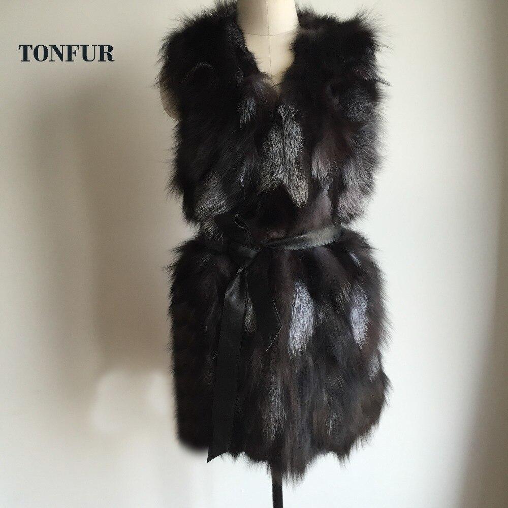 Mode Long Top Manteau Renard Femmes Fourrure Pur Gilet 100 De Dah625 Réel Nature wIBY6101
