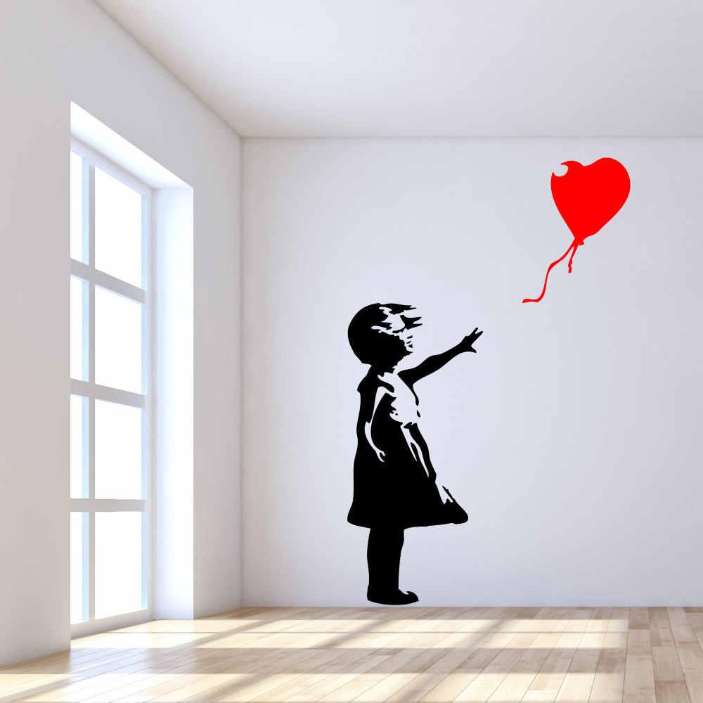 Famous Banksy Street Art Little Girl With Balloon Decor Vinyl Wall Decal Sticker
