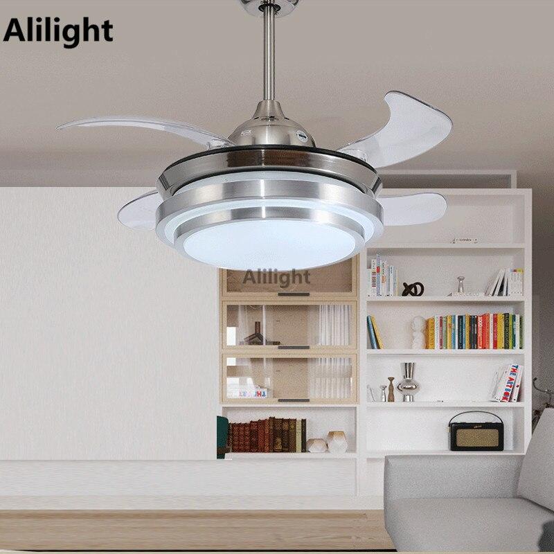 led deckenventilatoren mit licht dekorative einziehbarer klinge luxus faltfcher lampe fernbedienung 220 v hngeleuchten hause leuchte in led - Einziehbarer Deckenventilator