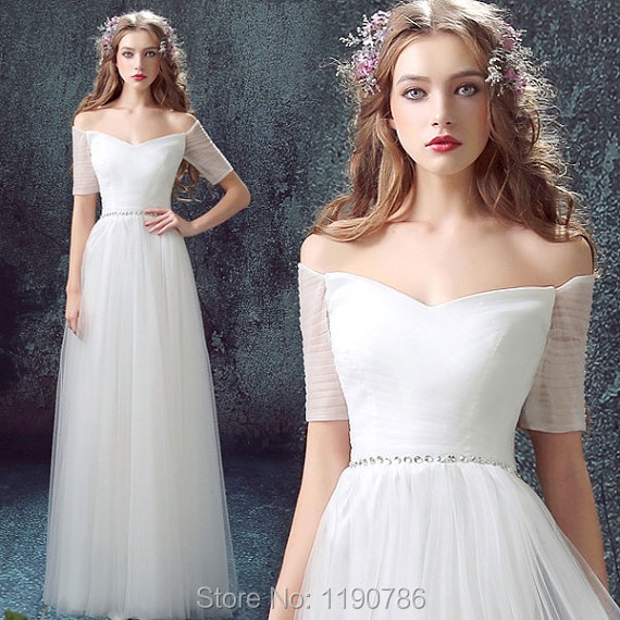 Ethereal Tulle Floor Length Beach Wedding Dresses Short Sleeves V