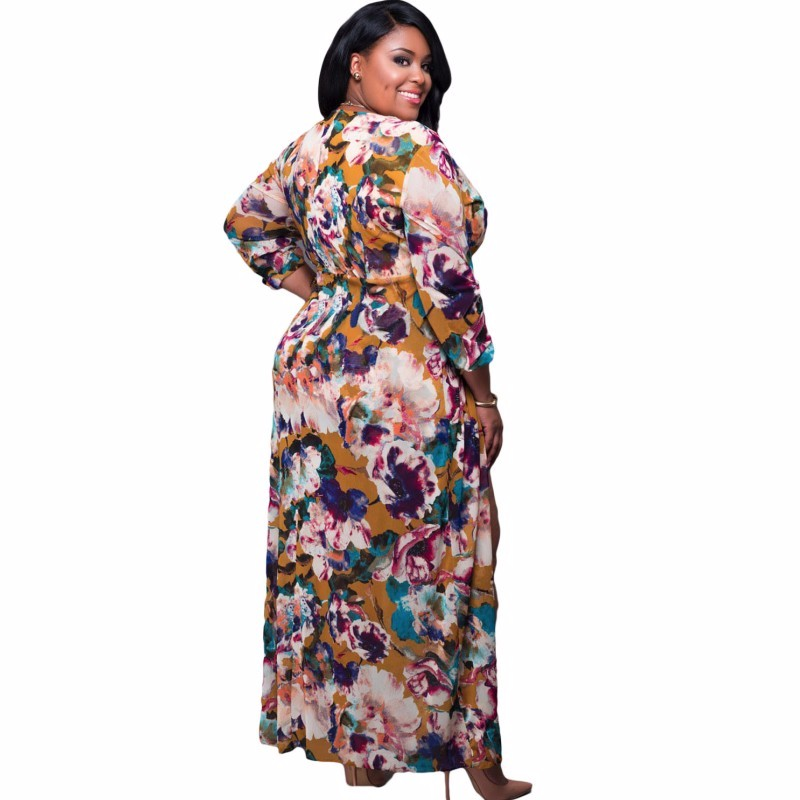 Plus-Size-Sleeved-Floral-Romper-Maxi-Dress-LC64221-22-3_conew1