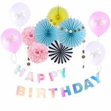 12pcs Unicorn Iridescent Birthday Party Decor Rainbow Happy Banner Holografic Shine Girl Supplies