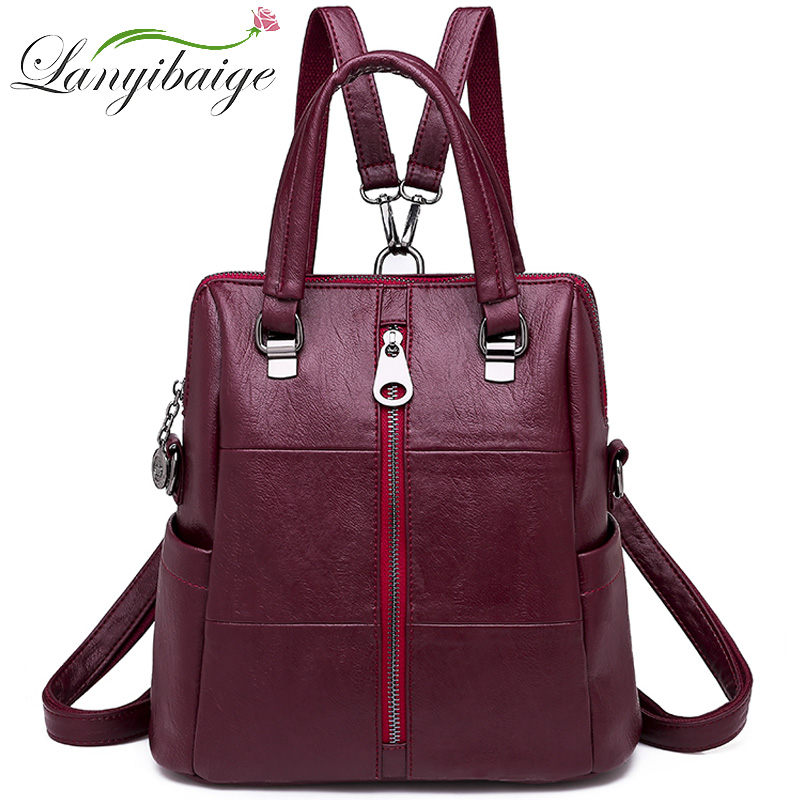 2019 Women Backpacks Vintage Female Shoulder Bags Soft Leather Backpack Ladies Travel Back Pack School Bags For Girls Mochilas