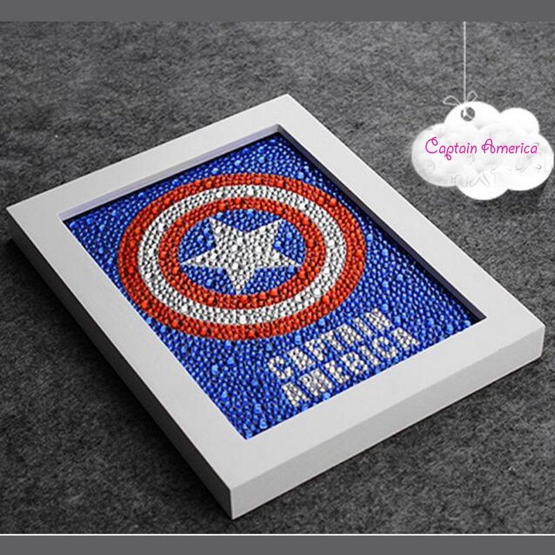 Diy 15 * 20CM Captain America 5D Diamond Painting Uşaq Zəkasını, - İncəsənət, sənətkarlıq və tikiş - Fotoqrafiya 1