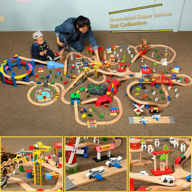 Kids Electric Train Set Police Fire Station Traffic Blocks Magnetic Train Diecast Slot Toy Fit For Standard Wooden TrainTrack