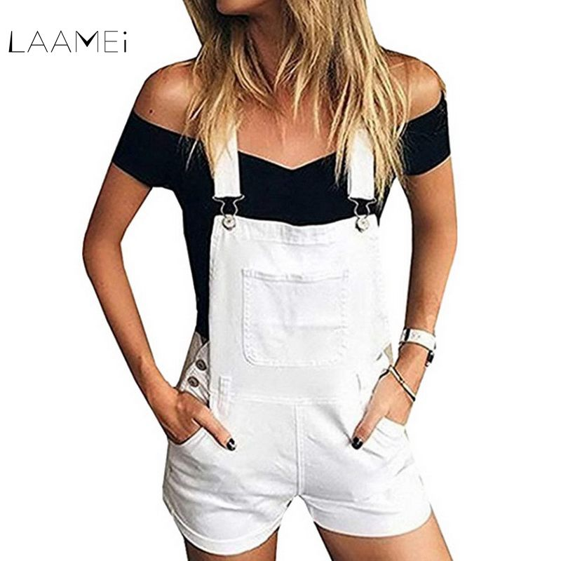 Laamei New Girls Denim Overalls Women Lovely Short   Jumpsuits   2019 Summer Fashion Jeans Overalls Shorts White Pocket Playsuits