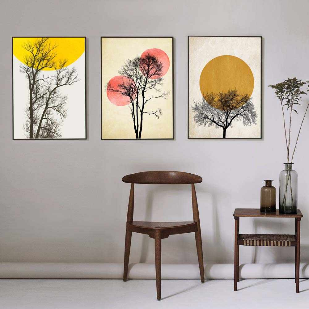Abstract Poster Minimalist Canvas Painting Yellow Circle Prints Nordic and Posters Wall Art Pictures for Living Room Home Decor