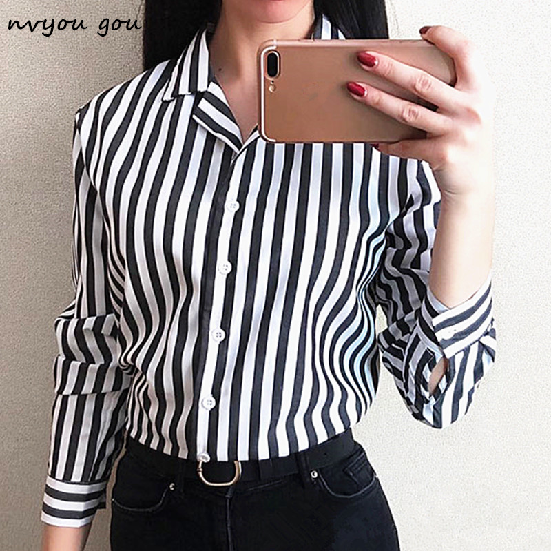 nvyou gou Women Stripe Long Sleeve Chiffon Button Down Blouse Shirt Office Lady Casual Summer Autumn Top Plus Size 2019 Fashion