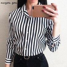 nvyou gou Women Stripe Long Sleeve Chiffon Button Down Blouse Shirt Office Lady Casual Summer Autumn Top Plus Size 2018 Fashion