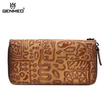 GENMEO Brand New Arrival Genuine Leather Zipper Wallet Women Coin Purse Oracle Pattern Cow Hand Strap Bolsa Feminina