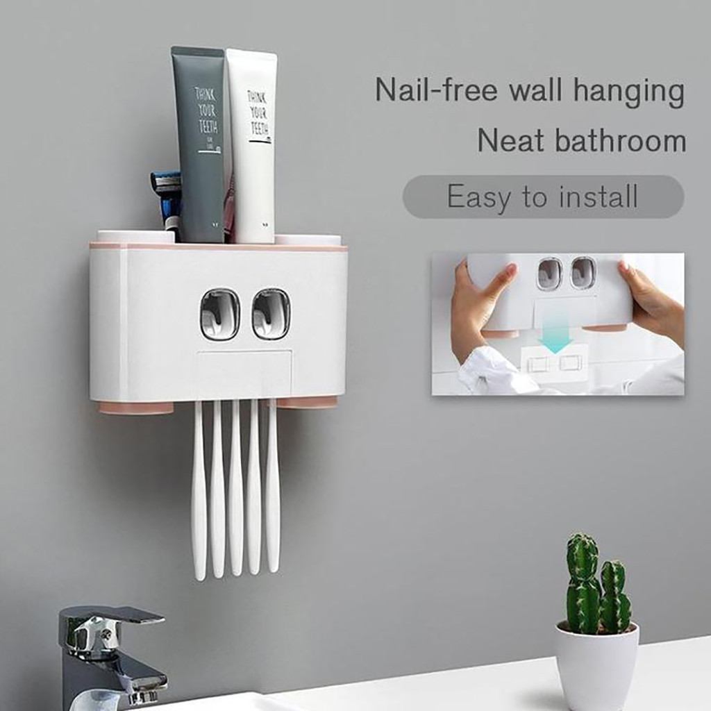 Auto Squeezing Toothpaste Dispenser Toothbrush Holder Home Wall Mount Stand NEW