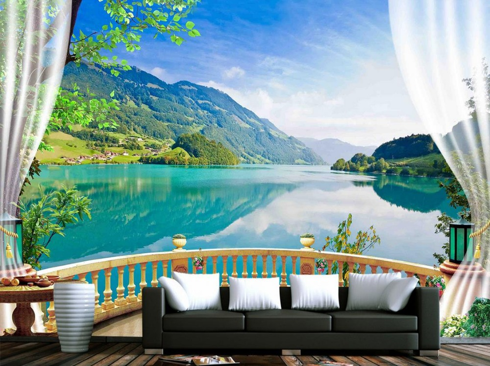 Custom 3d Mural Wallpapers Hd Landscape Mountains Lake: 3d Wallpaper Nature Balcony Blue Forest Lake Photo