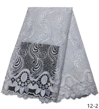 2019 French Lace Fabric White Wedding High Quality African Tulle 5Yard Nigeria Embroidered fabric 12