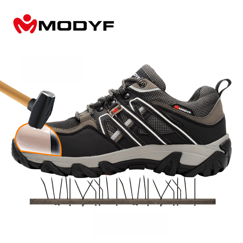 Modyf Men steel toe cap work safety shoes reflective casual breathable outdoor boots puncture proof protection