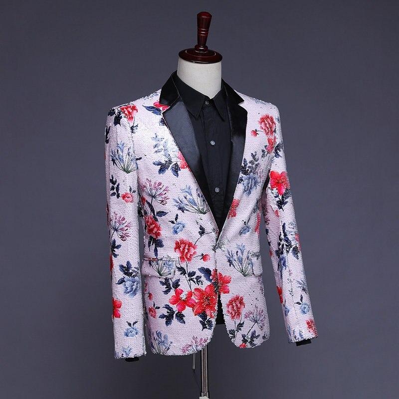Herren Pailletten Blazer Masculino Verziert Blazer Hombre Blazer Homme Glitter Jacke Männer Floral Anzug Jacke - 2