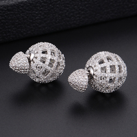 Silver Color Round Ball Hollow Micro Cubic Zirconia Stud Earrings For Women Girls