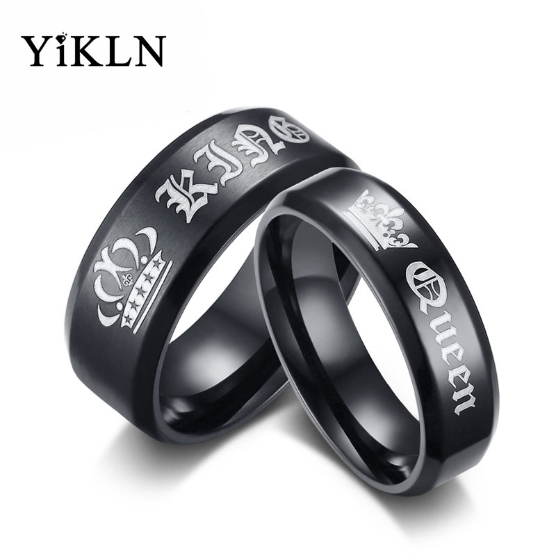 YiKLN Brand Queen & King Rings Jewelry Black Gun Plated Stainless Steel Couple Wedding Ring For Lovers Dropshipping JCR148