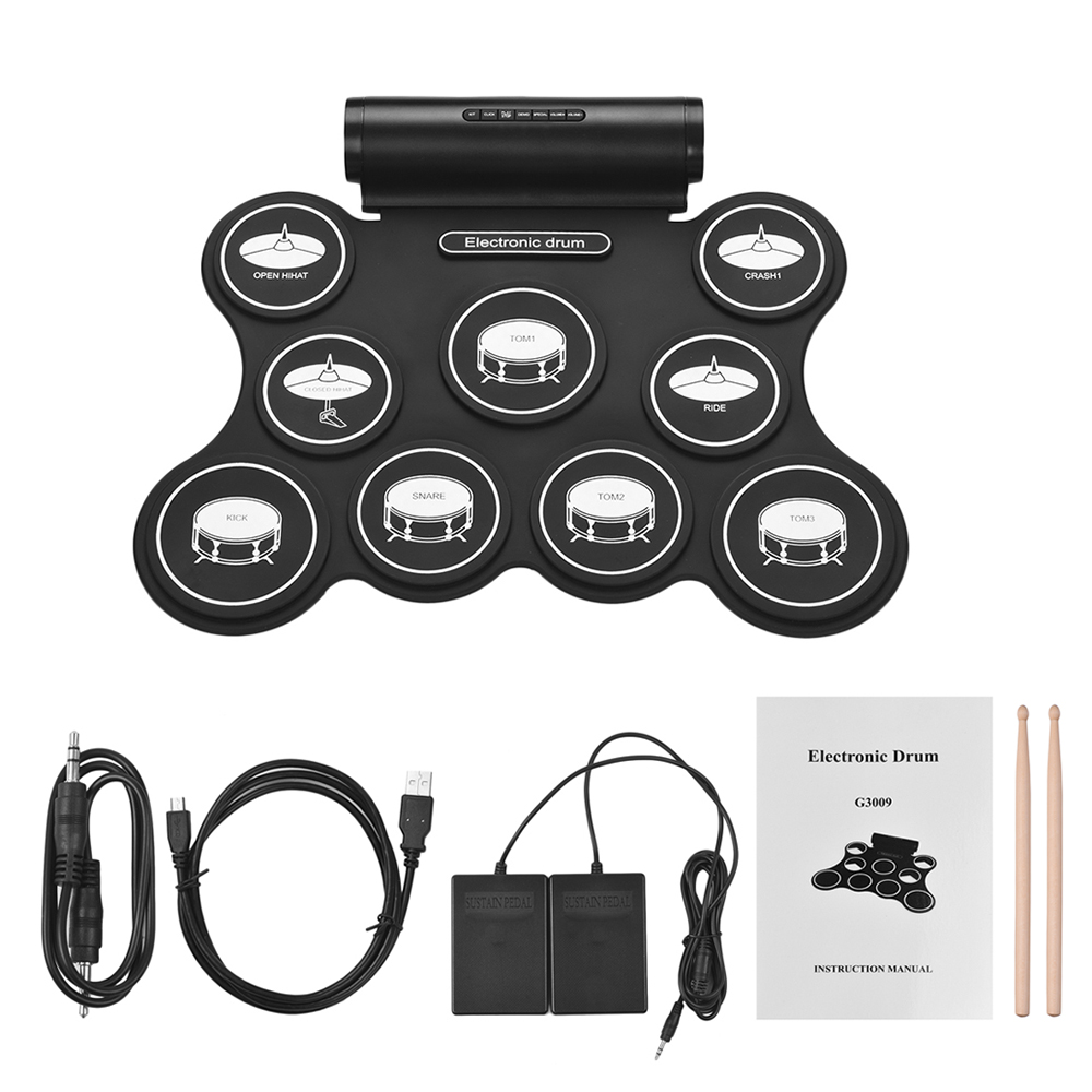 Portable Stereo Electronic Drum Roll Up Drum Kit 9 Silicon Pads Support MIDI Function Built in