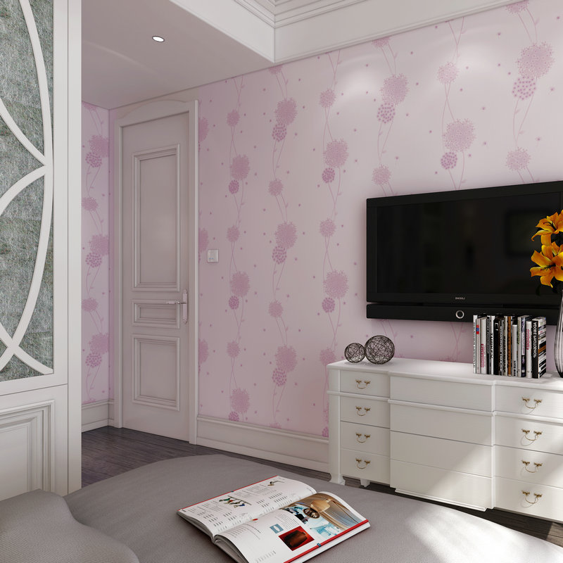 beibehang Pastoral home bedroom bedroom living room television room background wallpaper girl pink wallpaper wall paper